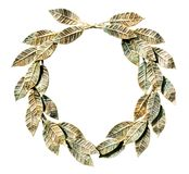 Bronzed laurel wreath (isolated). Royalty Free Stock Image