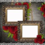 Bronzed vintage frames on old grunge background Stock Images