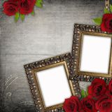 Bronzed vintage frames on old grunge background Royalty Free Stock Photos