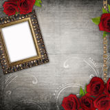 Bronzed vintage frames on old grunge background Royalty Free Stock Photo