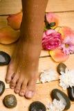 Bronzed wet foot on board floor Royalty Free Stock Photo