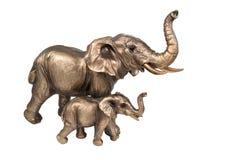 Bronzefamilie von Elefanten Lizenzfreies Stockfoto