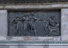 Bronzeflachrelief, das Handel, Reiterstatue des Kaisers Joseph II, Josefsplatz, Wien, Österreich darstellt lizenzfreie stockfotografie