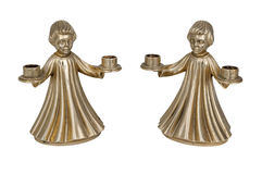 Bronzekerzenständer in Form einer Engelszahl Lizenzfreie Stockfotos