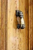 Bronzeklopfer auf der hellen Holztür Lizenzfreie Stockfotografie