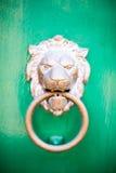 Bronzelöwekopfgriff auf grüner Tür Lizenzfreies Stockbild