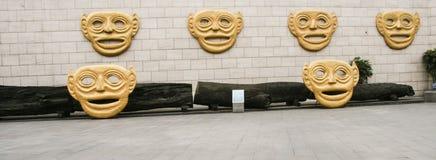 Bronzemasken im Museum, Chengdu, Porzellan Lizenzfreies Stockfoto