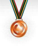 Bronzemedaille mit Farbbandhintergrund Stockbilder