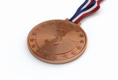 Bronzemedaille mit Zahl Stockbild