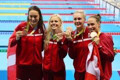 Bronzemedaillengewinner-Team Denmark Women-` s 4 100m Gemischrelais im Rio 2016 Olympics Stockbild