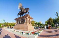 Bronzemonument zum Gründer von Samara Prince Grigory Zasekin Stockbilder