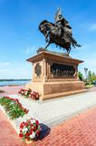 Bronzemonument zum Gründer von Samara - Prinz Grigory Zaseki stockfotos