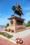 Bronzemonument zum Gründer von Samara - Prinz Grigory Zaseki lizenzfreie stockbilder