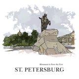 Bronzereiter, Monument zu Peter der Große, St Petersburg, Russland Hand schuf Skizze plus stock abbildung