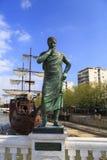 Bronzeskulptur von Aurelius Crates Ptolemaei in im Stadtzentrum gelegenem Skopje Lizenzfreie Stockfotografie