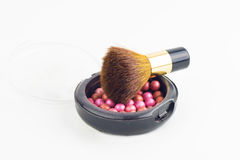 Bronzing Pearls Box And Makeup Brush Royalty Free Stock Photo