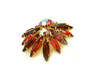 Brooch. Big brooch with red stones Royalty Free Stock Image