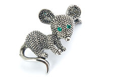 Brooch. In the form of mice with jewels Stock Image