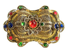 Brooch. Antique brooch isolated on white Royalty Free Stock Image