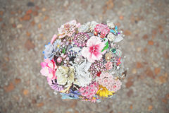 Brooch Bridal Bouquet. Made from dozens of old brooches Stock Photos