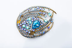 Brooch with colored stones Stock Photo