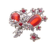 Brooch with different gems on background. Stock Images