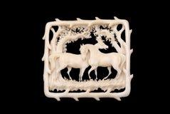 Brooch do marfim do 19o século fotografia de stock