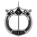 Brooch Fibula. Medieval Viking, Celtic, Germanic traditional decoration, clasp for a cloak. Isolated on white, vector illustration Royalty Free Stock Images
