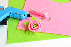 Brooch flower felt, glue gun, thread, needle, pins - set of creativity Royalty Free Stock Image