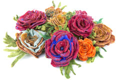 Brooch of fulled wool in the form of flowers Stock Photography