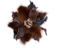 Brooch handmade from leather and fur Stock Images