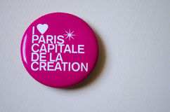 Brooch I love Paris. Pink brooch I love Paris, capitele de la creation Royalty Free Stock Photos
