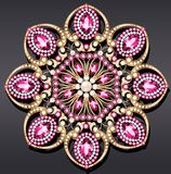 brooch jewelry, design element.  Geometric vintage ornam Royalty Free Stock Photography