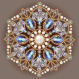 brooch jewelry, design element.  Geometric vintage ornam Stock Photos