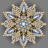 brooch jewelry, design element.  Geometric vintage ornam Stock Photo