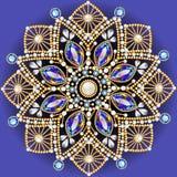 brooch jewelry, design element.  Geometric vintage ornam Stock Image