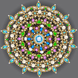 brooch jewelry, design element.  Geometric vintage ornam Royalty Free Stock Images