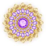 Brooch jewelry, design element. Tribal ethnic floral pat. Mandala brooch jewelry, design element. Tribal ethnic floral pattern mandala round with precious stones vector illustration
