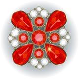 Brooch. Luxury golden brooch with precious stones vector vector illustration