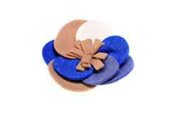 Brooch made of felt wool on a white Stock Photo