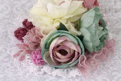 Brooch made of silk flowers Royalty Free Stock Image