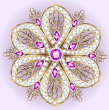 brooch pendant with and precious stones. Filigree royalty free illustration