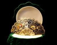 Brooch precioso na caixa verde Imagem de Stock Royalty Free