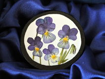 Brooch with pressed pansy flowers Royalty Free Stock Image