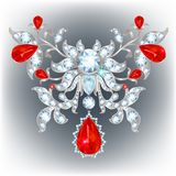 Brooch with rubies. Gold brooch with diamonds in the shape of a flower royalty free illustration