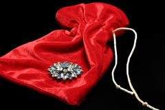 Brooch on velvet bag stock image