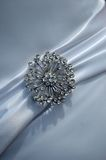 Brooch on wedding dress Stock Images