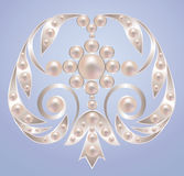 Brooch. With white pearls on silver royalty free illustration