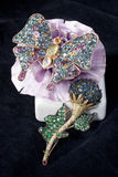 brooches da borboleta e da flor Fotografia de Stock Royalty Free