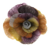Brooches-rose from coloured felt. On white royalty free stock photo